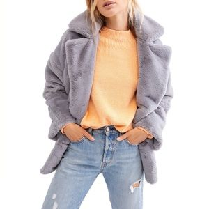 NWT Free People Teddy Kate Cloudy Day Faux Fur M